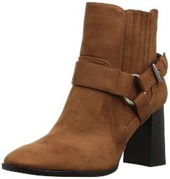 BCBGeneration Women's Agnes Harness Bootie Ankle Boot, Chocolate Suede 8 M US