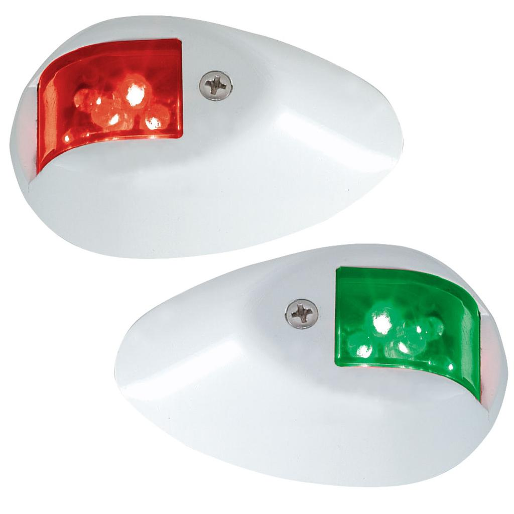 Perko led side lights 24v red / green w/ white housing 0602dp2wht