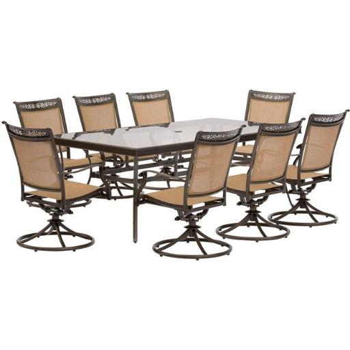 Hanover FNTDN9PCSWG Fontana Dining Set with Sling Swivel Dining Chairs, Glass Dining Table - 9 piece