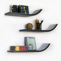 WeeK Four Stylish J Type Leather Wall Shelf / Floating Shelf (Set of 3)