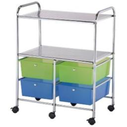 Alvin SC4MCDW-S 4 Drawing and 2 Shelf Multicolor Storage Cart SC4MCDW-S