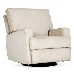 BELLEZE Recliner Swivel Chair Armrest Padded Backrest Living Room Rocker Reclining Chairs Comfort Footrest Linen, Beige