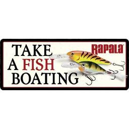 Open road brands 90160155s open road brands die cut emb tin sign take a fish boating