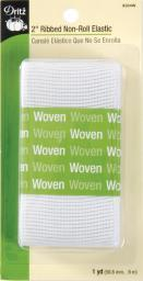 "Ribbed Non-Roll Elastic 2""X1yd-White 9304-W"