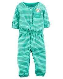 Carter's Baby Girls' Embroidered Jumpsuit, 3 Months