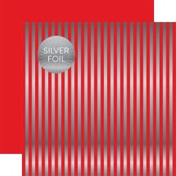 "Christmas Double-Sided Foiled Stripe Cardstock 12""X12""-Holly Berry & Silver XMSDSF-17061"