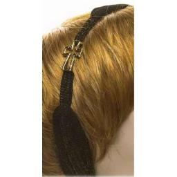 Accent Accessories 122356 Head Wrap, Gold Cross With Charm - Black
