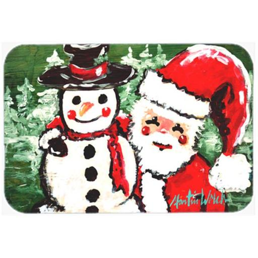 Friends Snowman and Santa Claus Mouse Pad, Hot Pad or Trivet