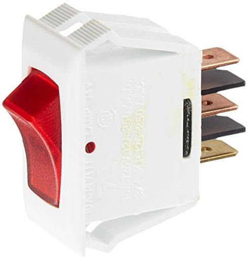 White W/Red Rocker Switch 10A Illuminated On/Off - Spst - Cut-Out .550In X 1.1