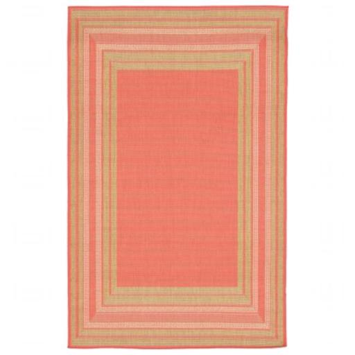 Wilton Woven Terrace Etched BDR 100 Percent Polypropylene Border Rug, Orange - 23 x 35 in.
