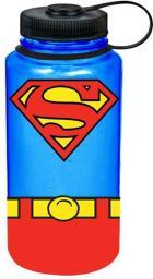 Superman Uniform Wide Mouth Plastic Water Bottle DC Comics Logo Lunch Wide Mouth