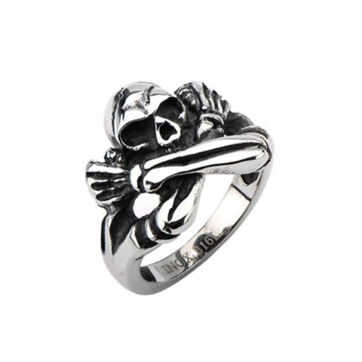Inox Jewelry FRW7701-8 Oxidized Skull Crossed Arms Stainless Steel Ring - Black - 8 in.