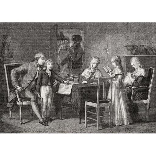 Posterazzi DPI1858174LARGE The Royal Family During Confinement At The Temple Prison 1792 Engraved Poster Print, Large - 36 x 24