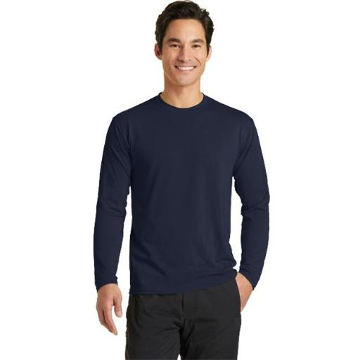 Port & Co PC381LS Long Sleeve Performance Blend Tee, Deep Navy - Extra Large