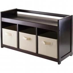 Winsome Trading 92701 Addison 4pc Storage Bench with 3 Foldable Fabric baskets in Beige - Espresso - Chocolate