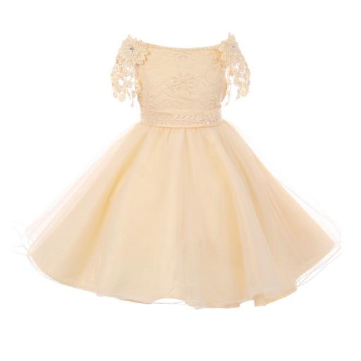 Big Girls Champagne Pearl Beaded Lace Sash Strap Junior Bridesmaid Dress 8-12