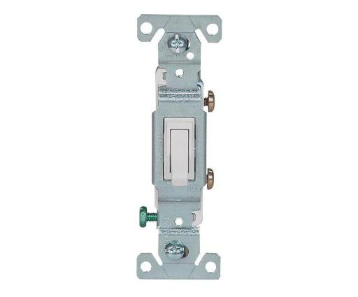 Cooper Wiring 1301-7w10 Ac Quiet Grounded Toggle Switch, 1 Pole, White