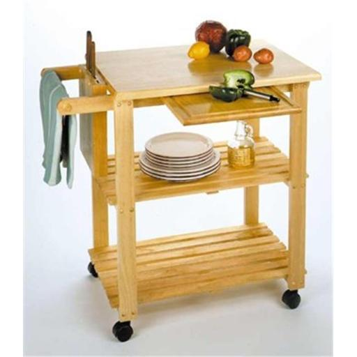 Winsome 89933 Kitchen Cart with Cutting Board Knife Block and Shelves- Beech