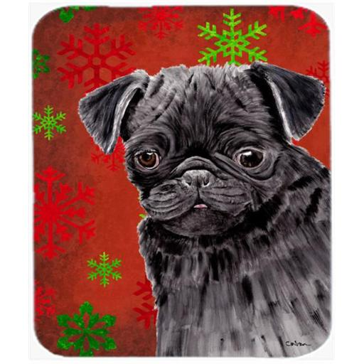 Pug Red And Green Snowflakes Holiday Christmas Mouse Pad, Hot Pad Or Trivet