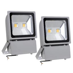 Yescom 100W LED Flood Light 3000K Warm White IP65 Waterproof Outdoor Work Light Security Night Lamp for Garden, 2 Pack