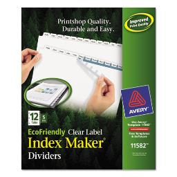 Index Maker Ecofriendly Print And Apply Clear Label Dividers With White Tabs 12-Tab 11 X 8.5 White 5 Sets   1 Pack of: 5