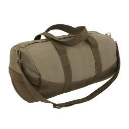 Rothco Two-Tone Canvas Travel Duffle Bag With Brown Bottom, Shoulder Strap