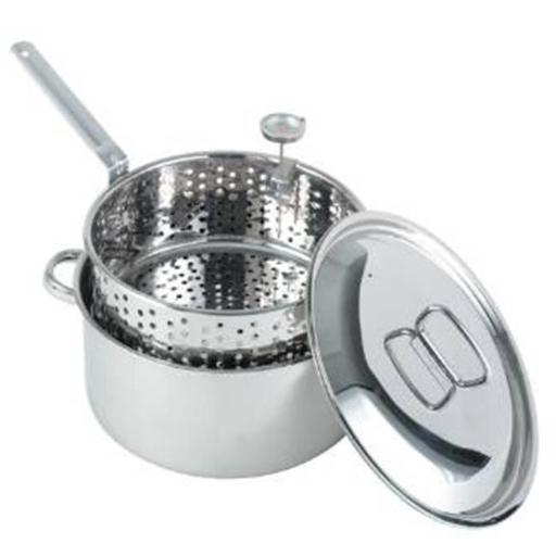 Bayou Classic 1101 Stainless 10-Qt. Fry Pot with Lid and Basket
