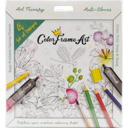 Adult Coloring Foldable Canvas Frame Assortment 4/pkg-white Happy Home
