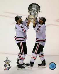 Niklas Hjalmarsson & Duncan Keith with the Stanley Cup Game 6 of the 2013 NHL Stanley Cup Finals Photo Print PFSAASF22601