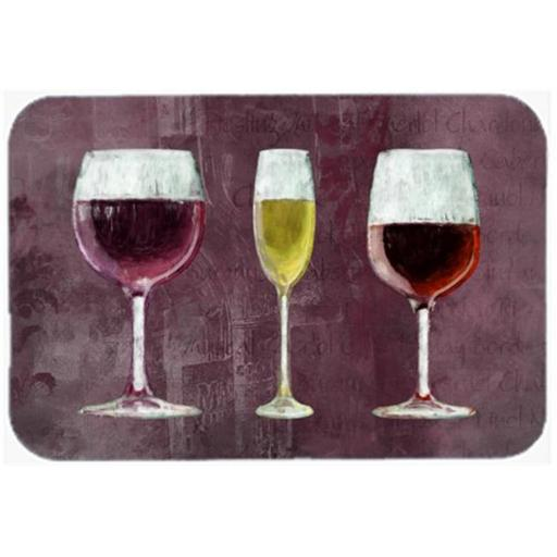 Carolines Treasures SB3073LCB Three Glasses Of Wine Purple Glass Cutting Board - Large