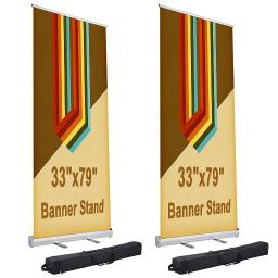 "2 Pcs 33"" x 79"" Aluminum Retractable Roll Up Banner Stand Trade Show Display Promotion Exhibition Sign Holder with Bag"