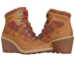 Timberland EK Amston Leather/Fabric Hiker Woodlands/Red Women's Boots A1124