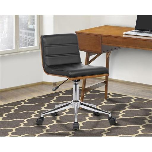Armen Living LCBOOFCHBLACK Bowie Mid-Century Office Chair in Chrome with Black Faux Leather Walnut Veneer Back
