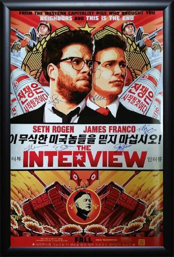 The Interview - Signed Movie Poster in Wood Frame with COA