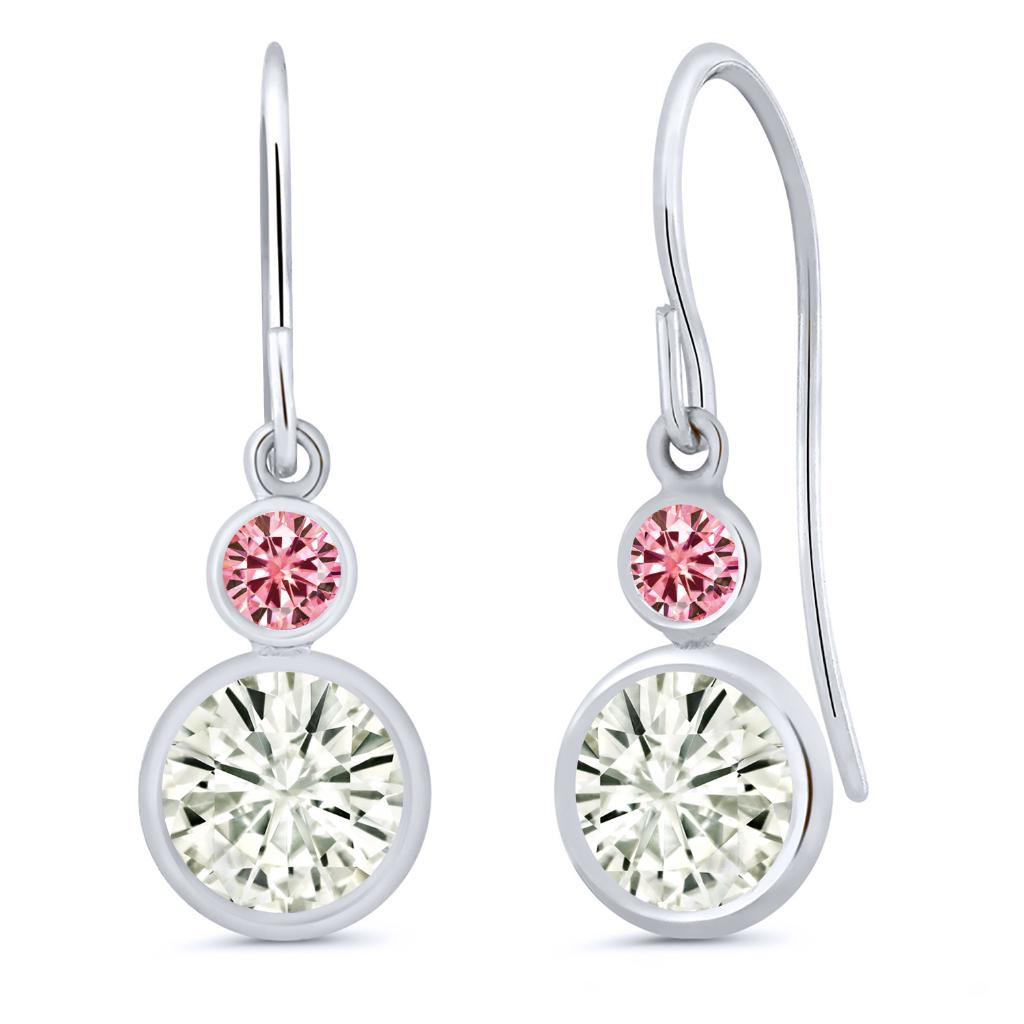 14K White Gold Dangle Earrings Forever Classic Round 1.80ct (DEW) Created Moissanite by Charles & Colvard and Created Moissanite