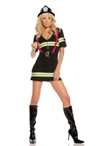 #costumes,Elegant Moments Womens Sexy Firefighter Blazing Hot Halloween Roleplay Costume