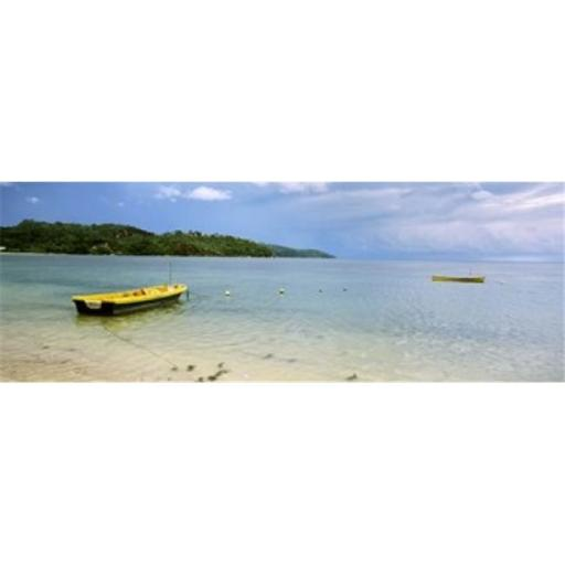 Small fishing boat in the ocean Baie Lazare Mahe Island Seychelles Poster Print by - 36 x 12