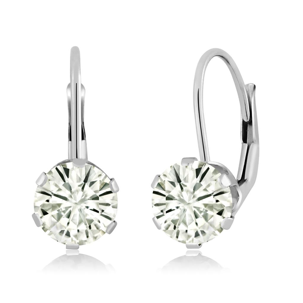 14K White Gold Dangle Earrings Forever Classic Round 1.60ct (DEW) Created Moissanite by Charles & Colvard