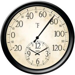 Springfield 91575 14 Decorative Thermometer With Clock