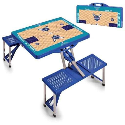 Picnic Time 811-00-139-325-4 Charlotte Hornets Portable Picnic Table With Sports Field Design - Blue
