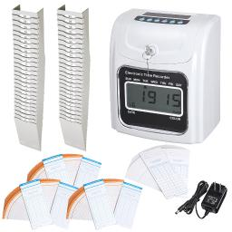 Employee Attendance Punch Time Clock Payroll Recorder Kit with 200 Cards & 2pcs Retractable 25-Pocket Time Card Racks