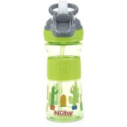 Nuby 2314954 12 oz Nuby Push Button Flip-it Soft Spout on The Go Cup, Green Cactus - Case of 12