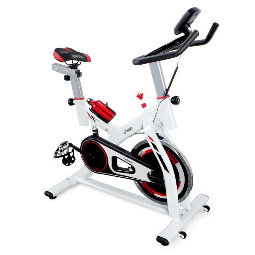 AKONZA Fitness Stationary Bike with LCD Display and Heart Rate Monitor, Exercise Indoor Cycling Bicycle, White