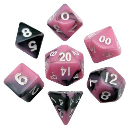 Metallic Dice Games LIC473 10 mm Mini Dice, Set of 7 - Pink & Black with White Numbers