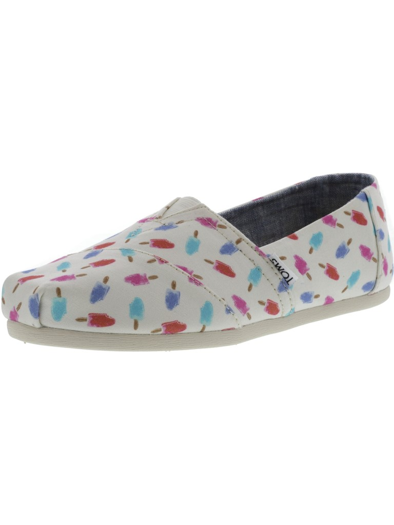 Toms Women's Classic Canvas White Popsicles Ankle-High Flat Shoe - 6.5M