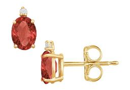 Cubic Zirconia and Created Ruby Stud Earrings Yellow Gold Vermeil 2.04 CT TGW