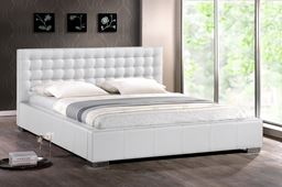 Baxton Studio Madison White Modern Bed with Upholstered Headboard (King Size) BBT6183-White-King Bed