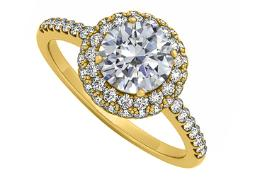 Double Halo Cubic Zirconia Engagement Ring in 14K Yellow Gold Best Price Range 0.75 CT TDW