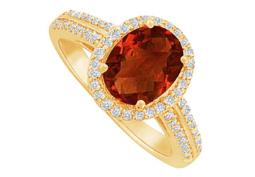 Garnet and CZ Halo Engagement Ring in 14K Yellow Gold