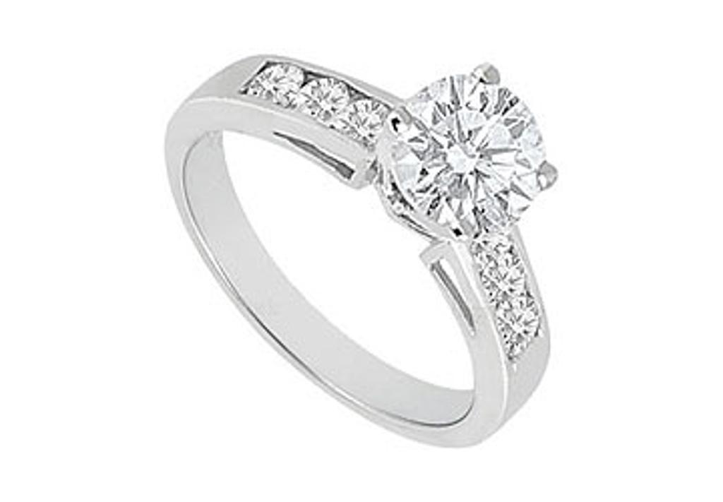 14K White Gold Engagement Ring of 1 Carat Triple AAA Quality CZ